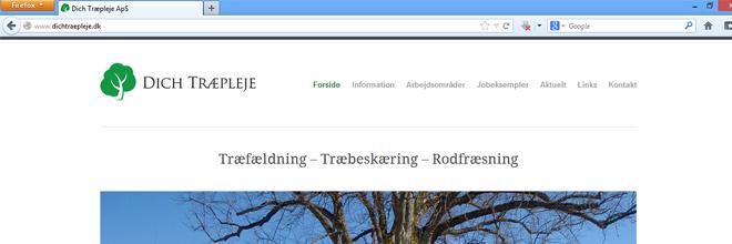 Vi har fået ny hjemmeside. Februar 2013. Dich Træpleje aps